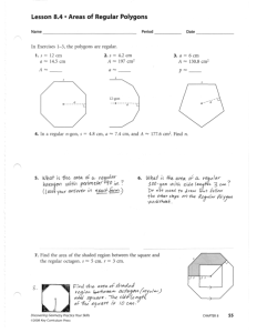 Lesson 8.4 • Areas of Regular Polygons