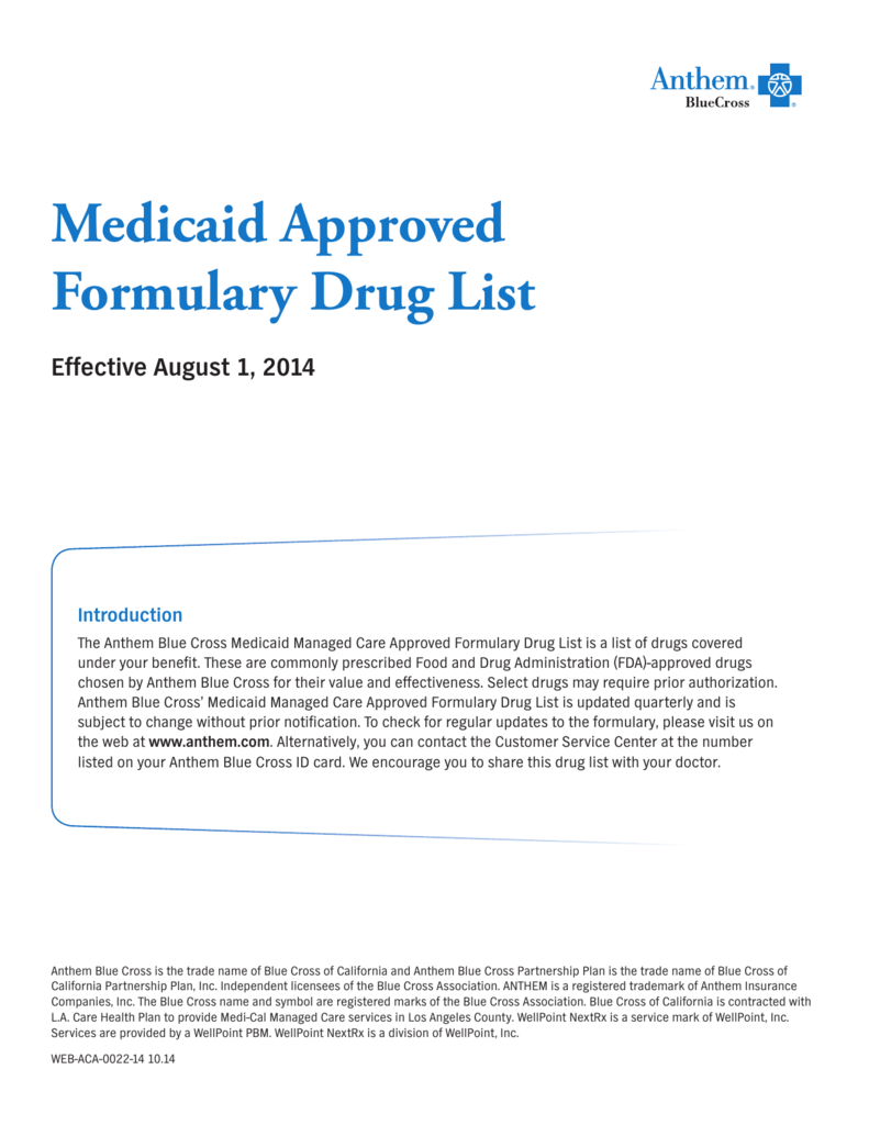 Medicaid Approved Formulary Drug List