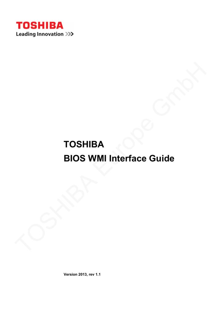 TOSHIBA BIOS WMI Interface Guide