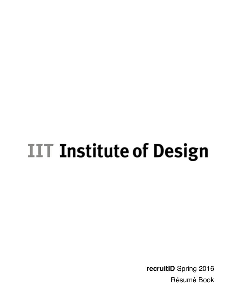 PDF Résumé Book - IIT Institute of Design