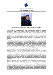 Council Member of Institute of Marketing Malaysia (IMM)