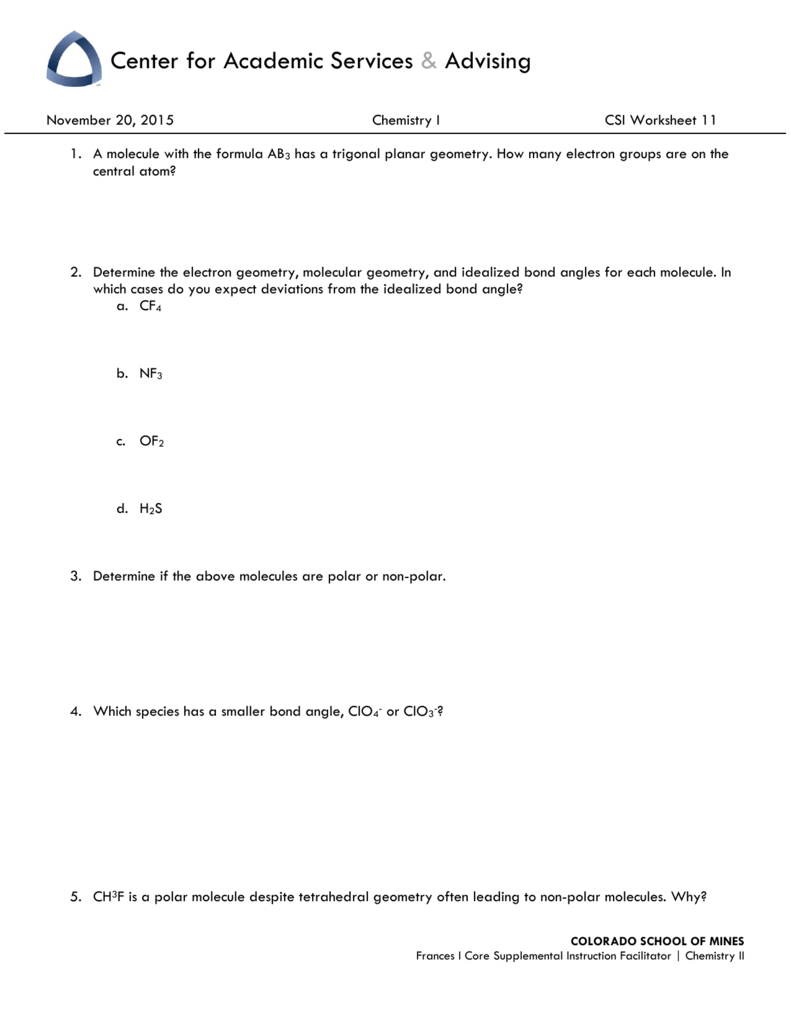 worksheet Polar And Nonpolar Molecules Worksheet chem i worksheet week 12