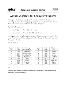 Symbol Shortcuts for Chemistry Students