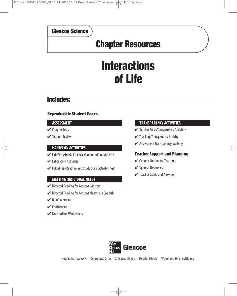worksheet Teaching Transparency Worksheet Answers Chapter 6 chapter 4 resource interactions of life