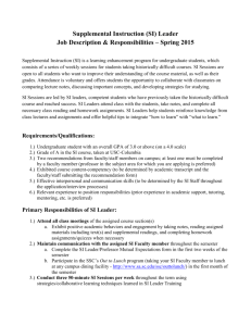 (SI) Leader Job Description & Responsibilities – Spring 2015