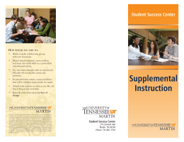 Supplemental Instruction - The University of Tennessee at Martin