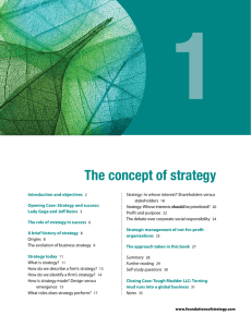 The concept of strategy - Foundations of Strategy