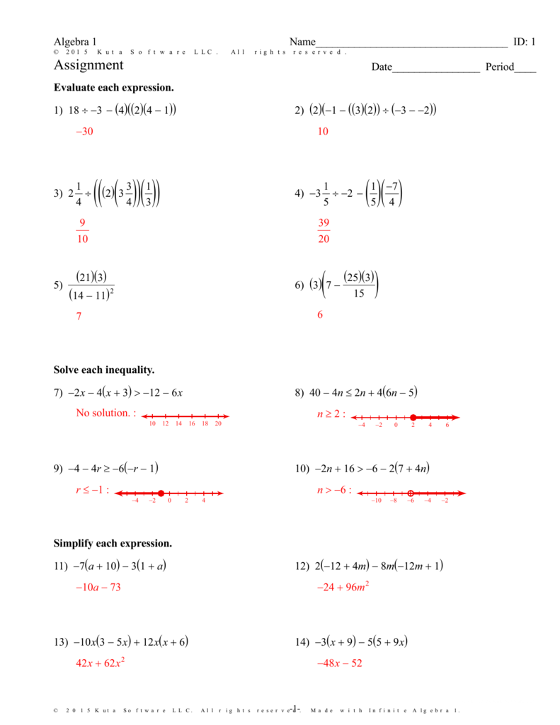 Worksheets Kuta Software Infinite Algebra 1 Worksheet Answers infinite algebra 1 assignment