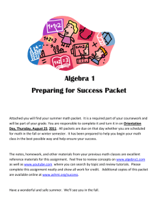 Algebra 1 Preparing for Success Packet