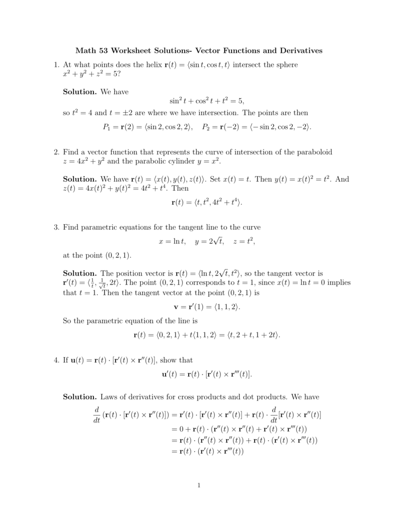 Worksheets Parametric Equations Worksheet math 53 worksheet solutions vector functions and