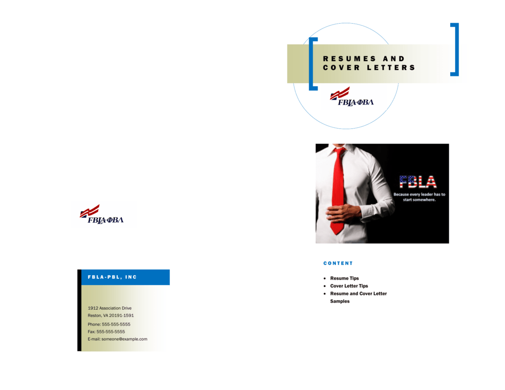 Resumes And Cover Letters Missouri Fbla Pbl