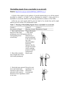 Marshalling signals (from a marshaller to an
