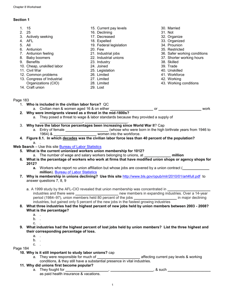 Chapter 8 Worksheet - Poway Unified School District