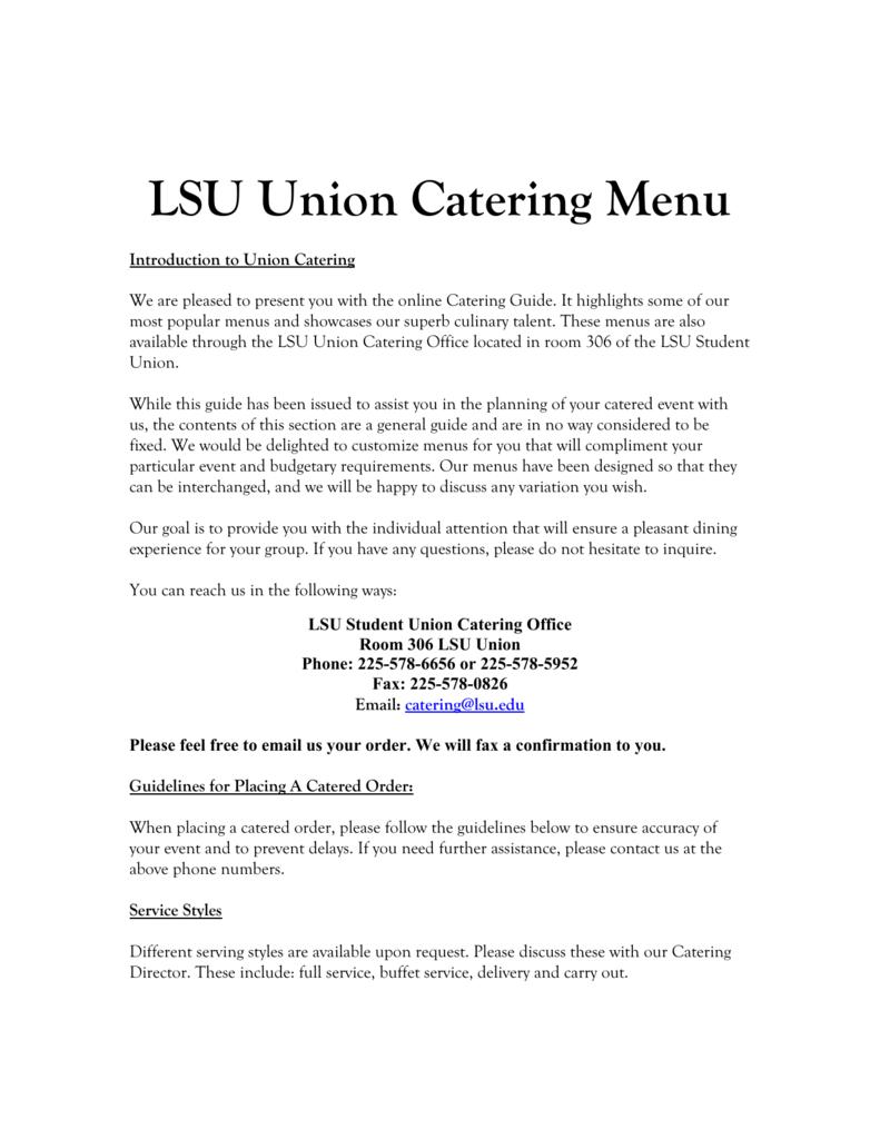 LSU Union Catering Menu