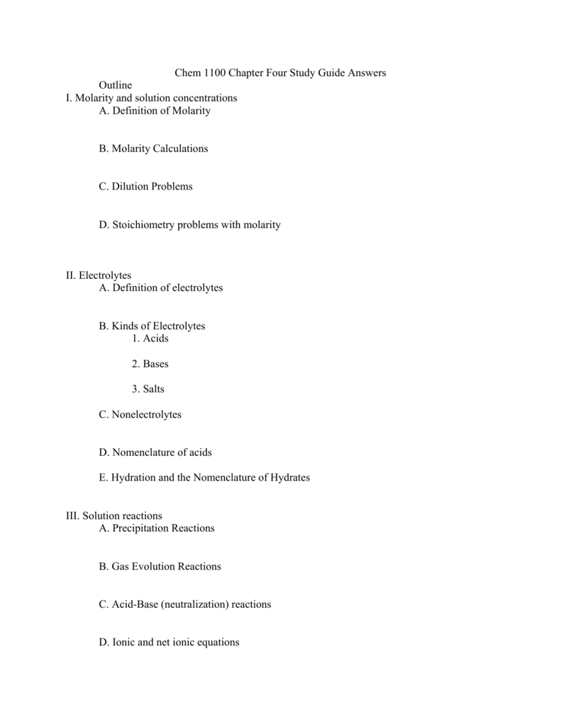 chem 1100 chapter four study guide answers outline i molarity rh studylib net Study Skills Effective Study Tips