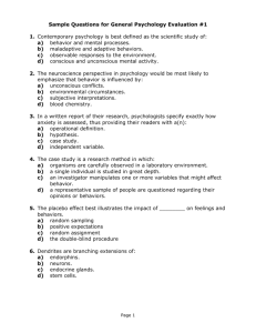 Sample Questions for General Psychology Evaluation #1 1