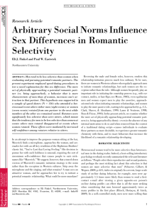 Arbitrary social norms influence sex differences in romantic selectivity