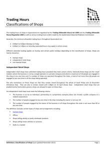Definition of Classification of Shops
