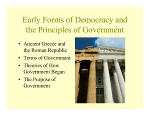 Early Forms of Democracy and the Principles of Government