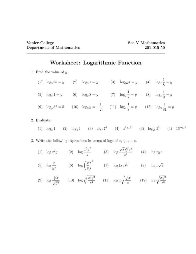 Worksheets Logarithmic Functions Worksheet of logarithmic functions worksheet sharebrowse collection sharebrowse