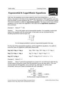 Exponential & Log Equations - VCC Library