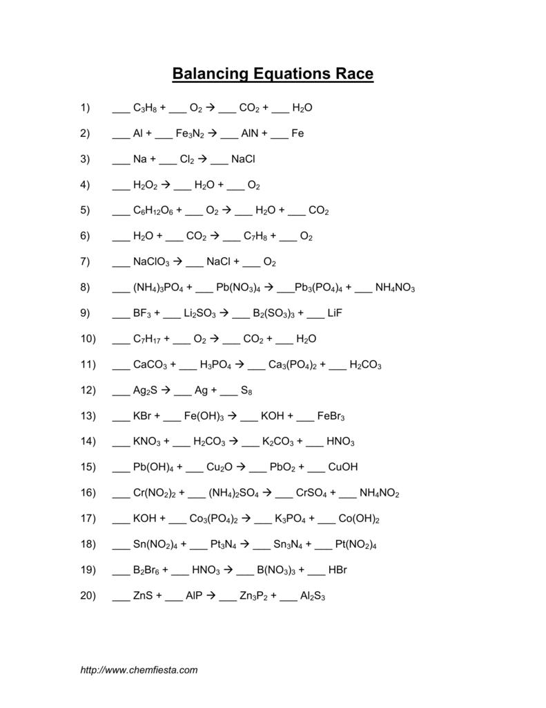 Balancing Equations Race