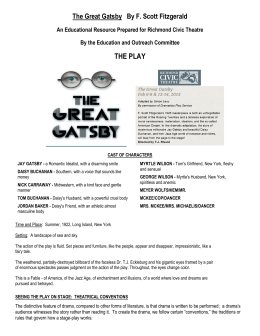RCT Gatsby Study Guide - Richmond Civic Theatre