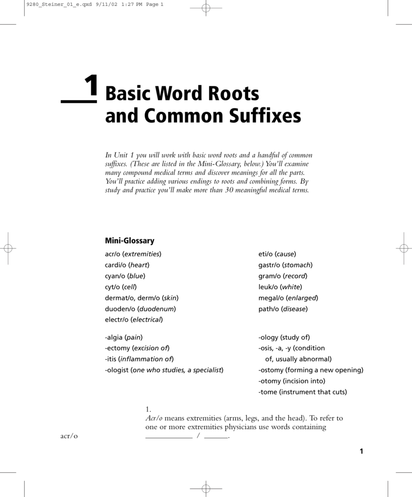 1Basic Word Roots and Common Suffixes