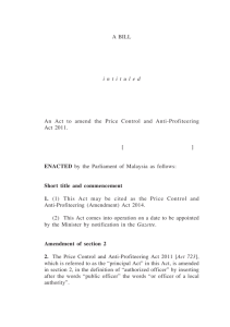Price Control and Anti-Profiteering (Amendment) 1 A BILL
