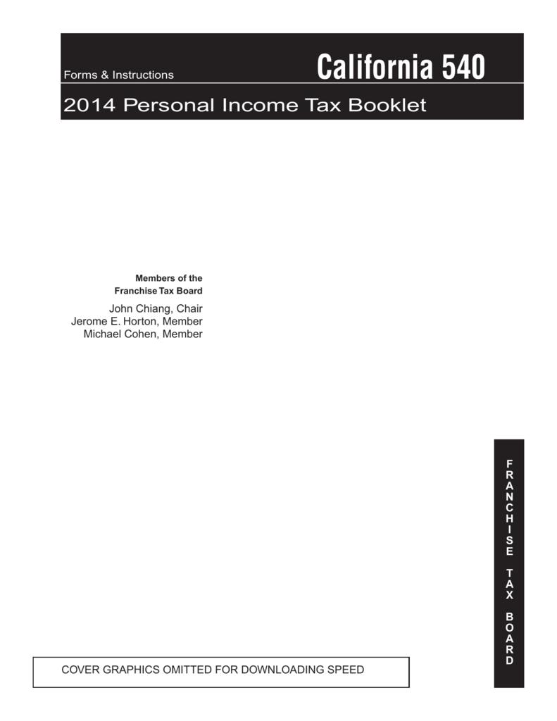 California 540 2014 Personal Income Tax Booklet