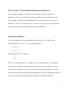 Week 4 Lecture: Paired-Sample Hypothesis Tests (Chapter 9