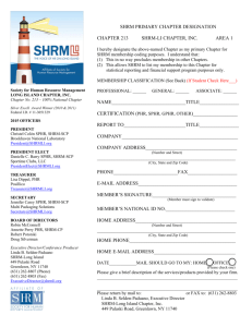 SHRM PRIMARY CHAPTER DESIGNATION CHAPTER - SHRM-LI