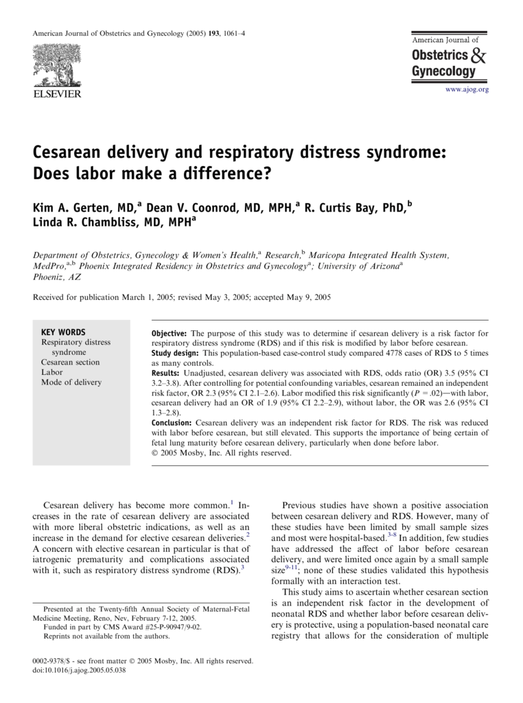 Cesarean Delivery And Respiratory Distress Syndrome Does Labor