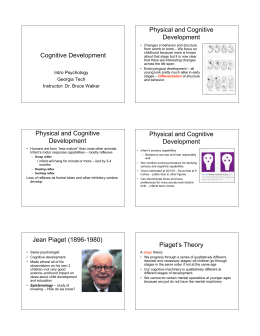 Cognitive Development Physical and Cognitive Development
