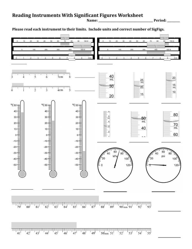 Worksheets Significant Figures Worksheet With Answers reading instruments with significant figures worksheet
