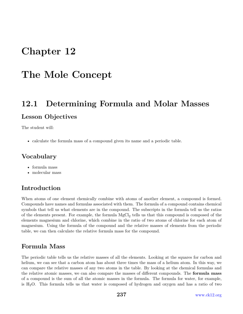 Chapter 12 The Mole Concept