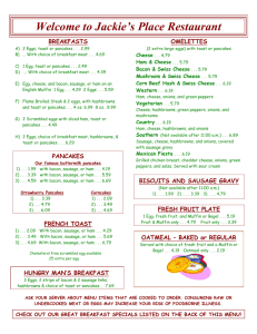 Menu - Jackie's Place Restaurant