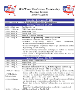 Tentative Conference Agenda - Professional Bail Agents of the