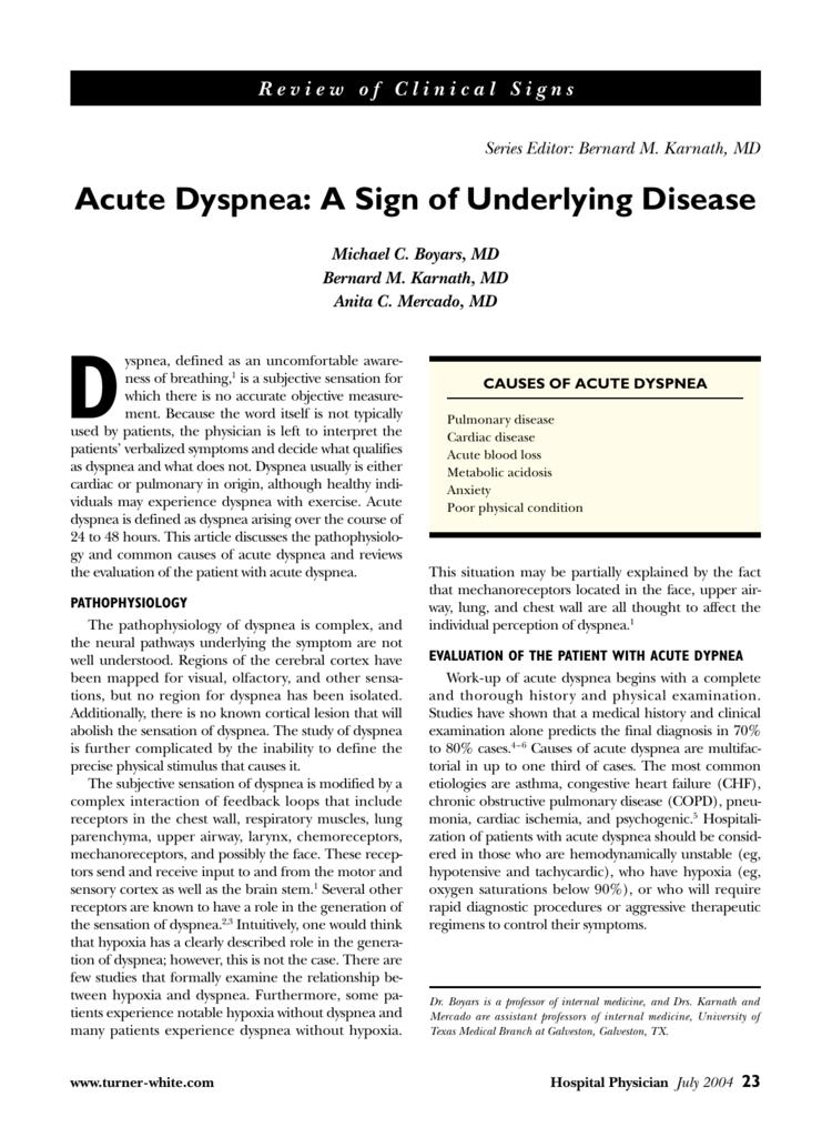 Acute Dyspnea: A Sign of Underlying Disease