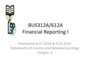 BUS312A/612A Financial Reporting I
