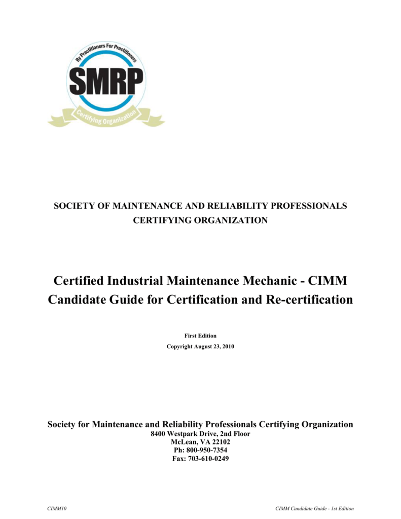cimm study guide society for maintenance reliability rh studylib net Microsoft Certification Certificate Clip Art
