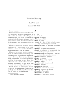 French Glossary - School of Mathematics
