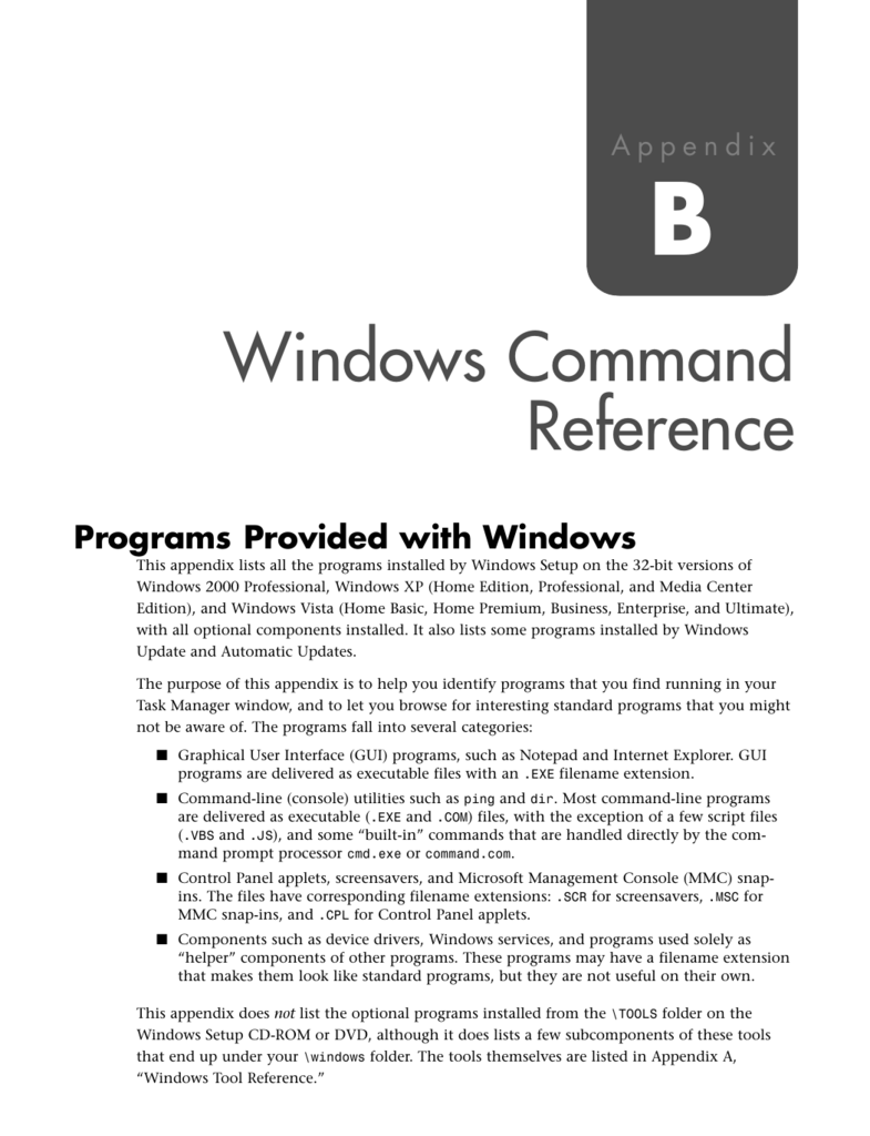 Windows Command Reference