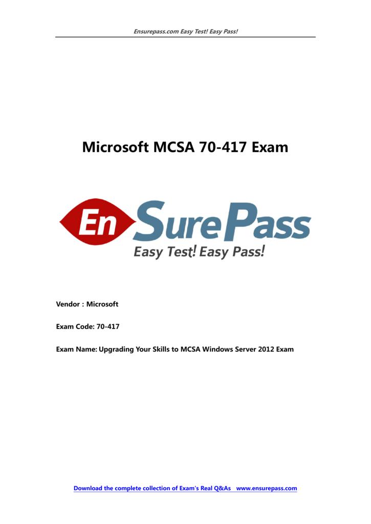Latest Microsoft EnsurePass 70-417 Dumps PDF