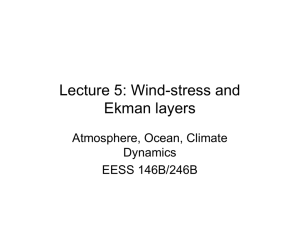 Lecture 5: Wind-stress and Ekman layers