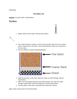 Chemistry Foul Water Lab Procedure: