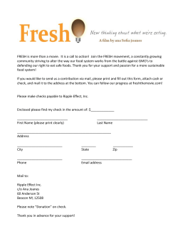 FRESH is more than a movie. It is a call to action! Join the FRESH
