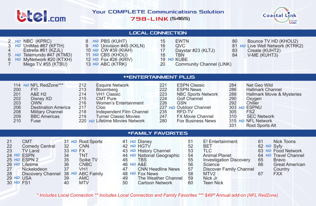 Check out our Cable Lineup