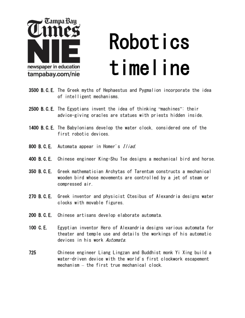To A Timeline Of Robotics