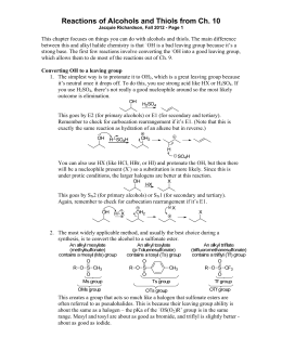 Reactions of Alcohols and Thiols from Ch. 10